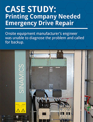 case study printing company needed emergency drive repair onsite equipment manufacturers engineer was unable to diagnose the problem and called for backup